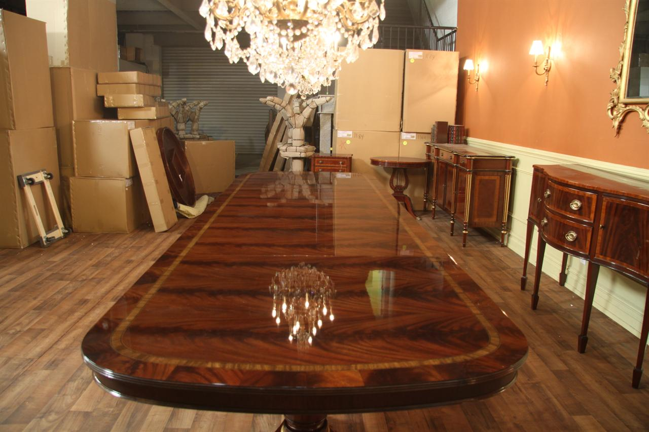 Extra large and wide high end american made mahogany for Extra long dining room tables sale