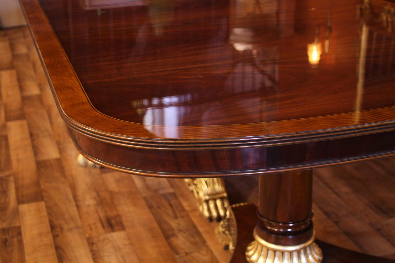 French Empire Dining Table Corner Details Show Reeded Edge Mahogany Apron And Satinwood Banding