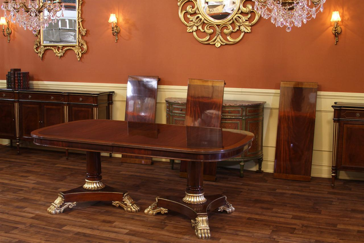 Expandable Regency Style Dining Table With Double Pedestals Shown Its Three Leaves