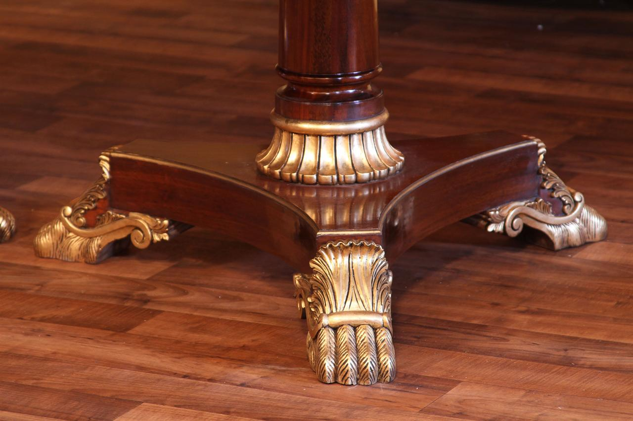 Close Up Details On The Pedestal Of This French Empire Expandable Dining Table