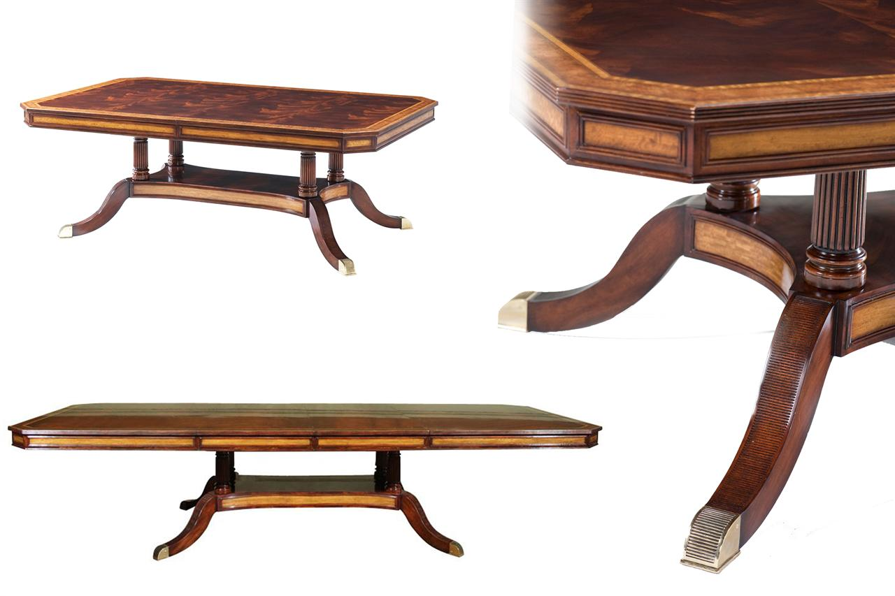 Dining Table With Self Storing Leaves Part - 39: Formal Satinwood Inlaid Mahogany Dining Table With Self Storing Leaves