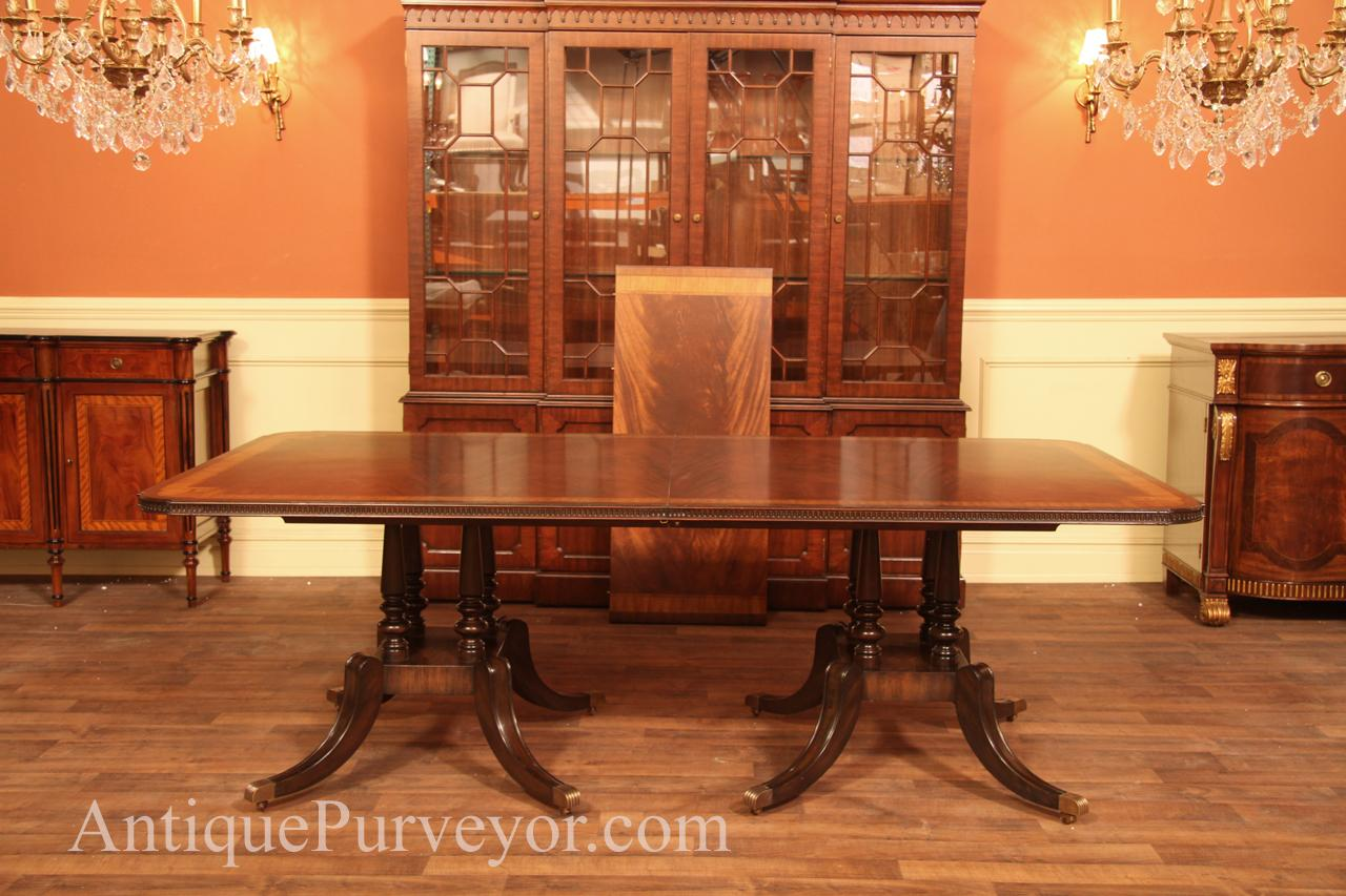 Mahogany Double Pedestal Dining Table At 90 Inches Long