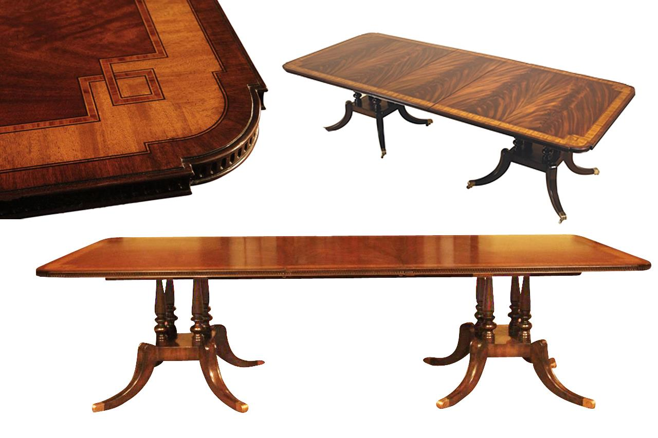 Mahogany dining table with inlay seats 10 12 people for 10 seating dining table