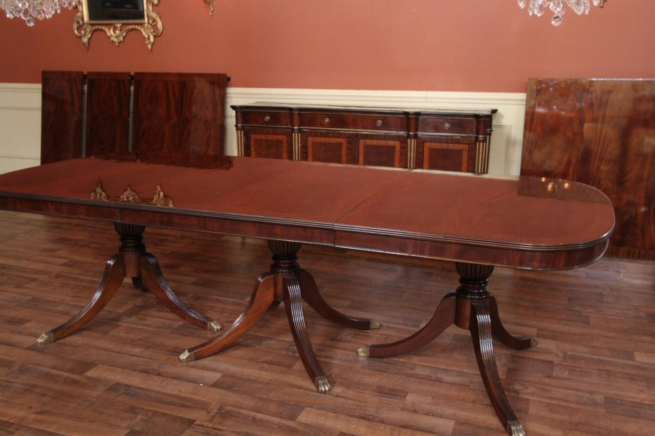 Mahogany Dining Table Triple Pedestal Table Opens From 9 21 Feet Sits 26