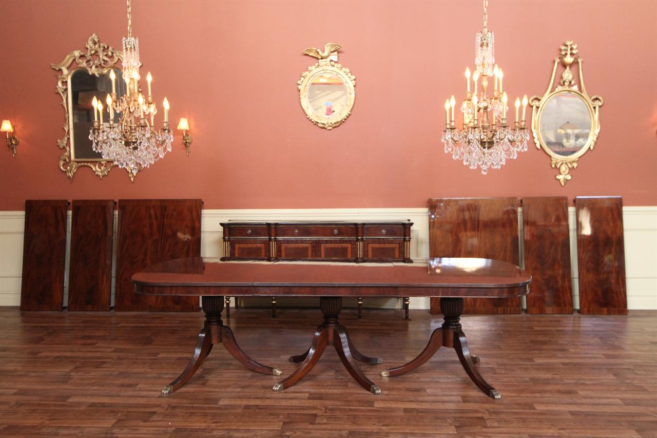 Expandable Dining Room Table, Triple Pedestal Dining Table