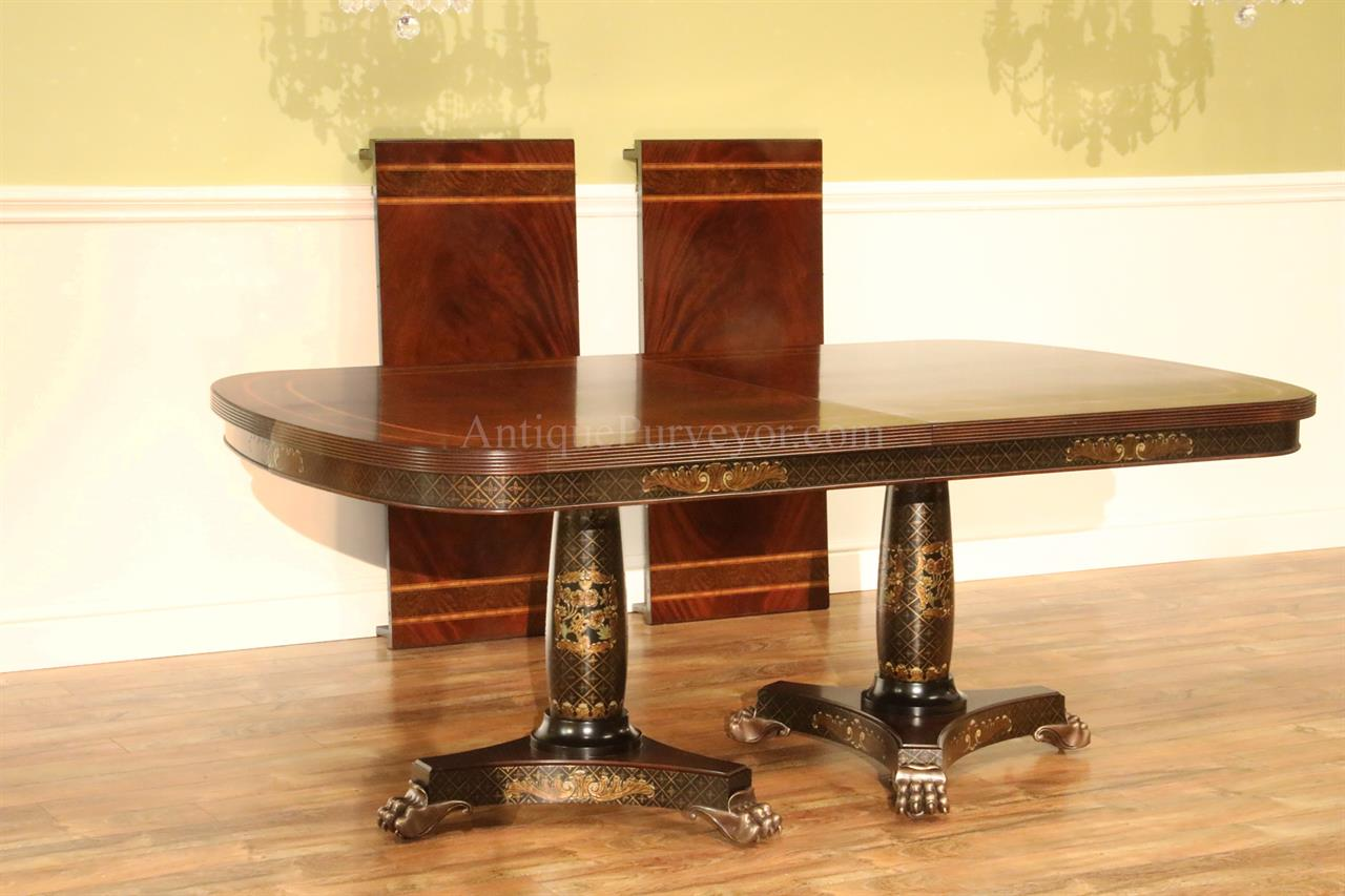 Regency Dining Table With Brass Paw Feet And Chinoiserie