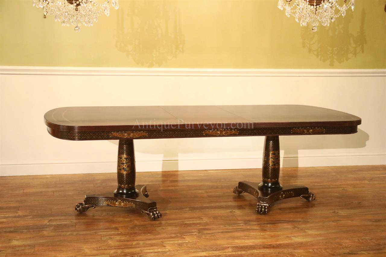 Mahogany Dining Table with Brass Lion Paw Feet, Black & Gold Accents