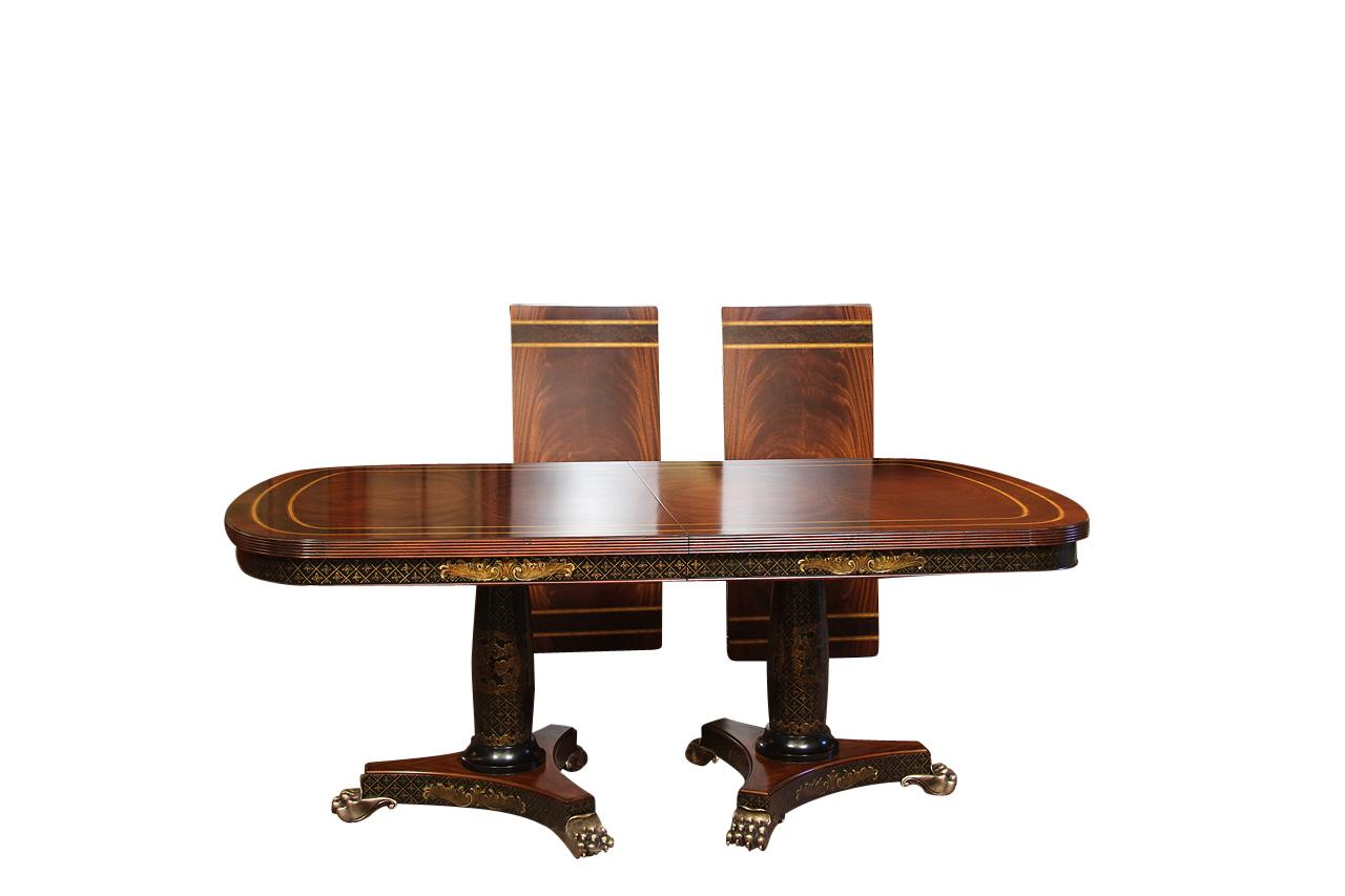 High End Mahogany Dining Room Table With Chinoiserie And Brass Paw Feet Regency