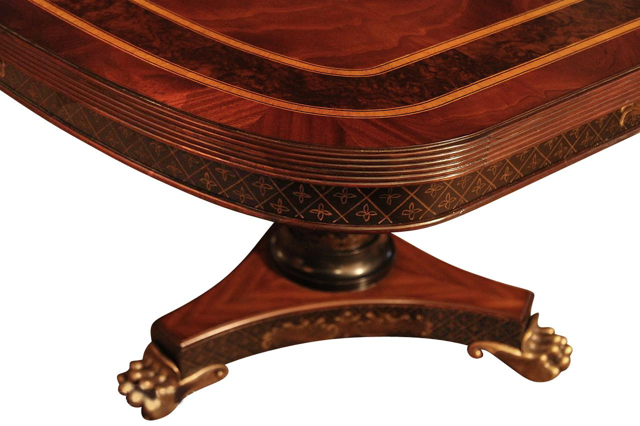 Inlaid Mahogany Dining Table With Brass Lion Paw Feet ,Ebony U0026 Gold Accents