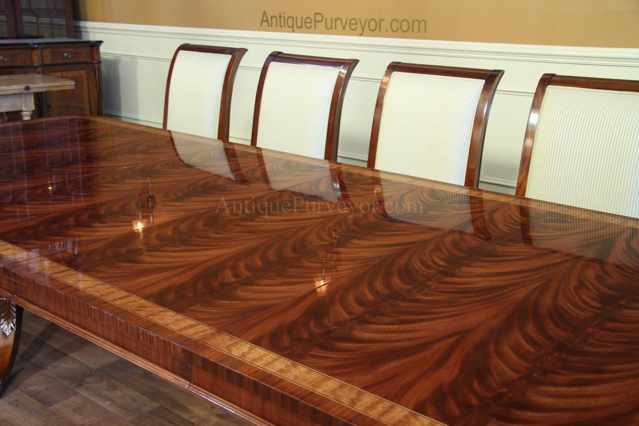 High end extra large long mahogany dining table seats 12 for Dining room tables 12