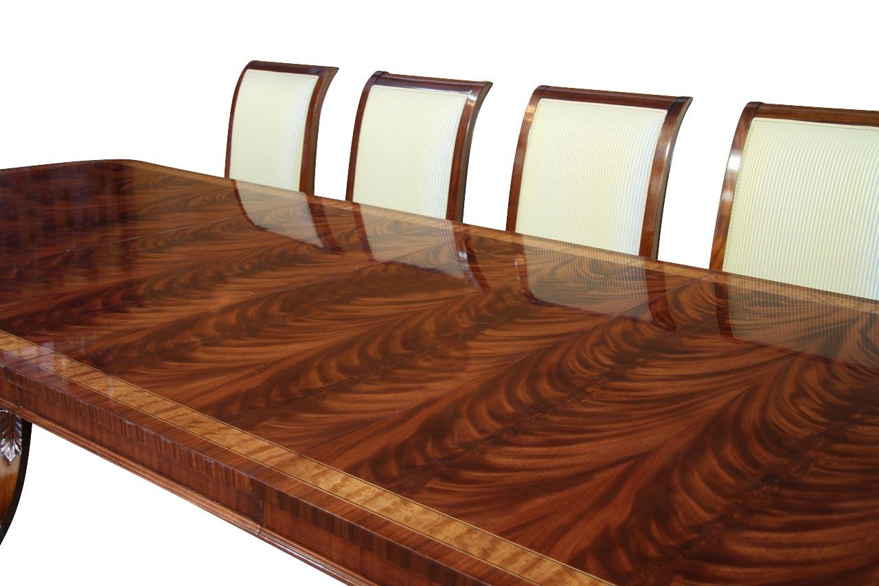 High end extra large long mahogany dining table seats 12 for Dining room tables with leaves