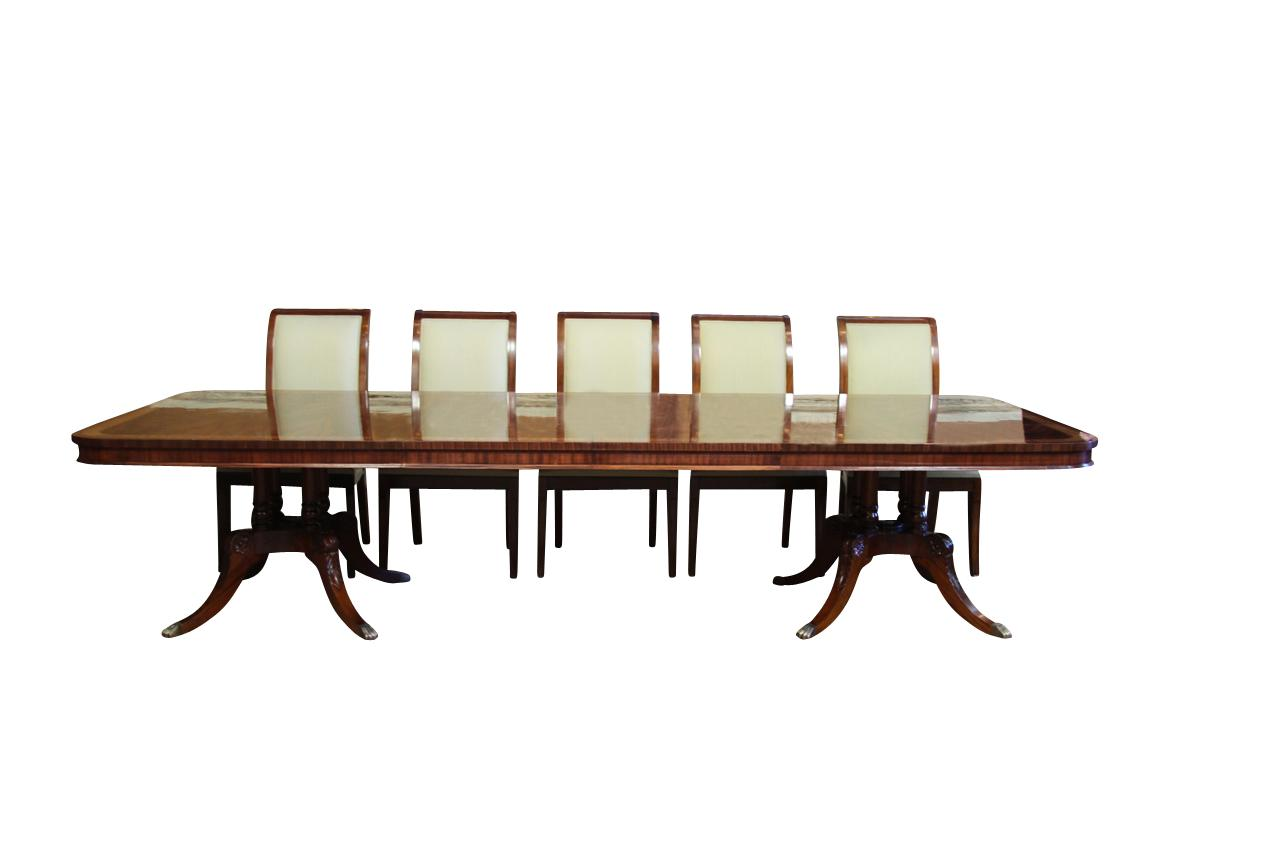 High end extra large long mahogany dining table seats 12 for Long dining table