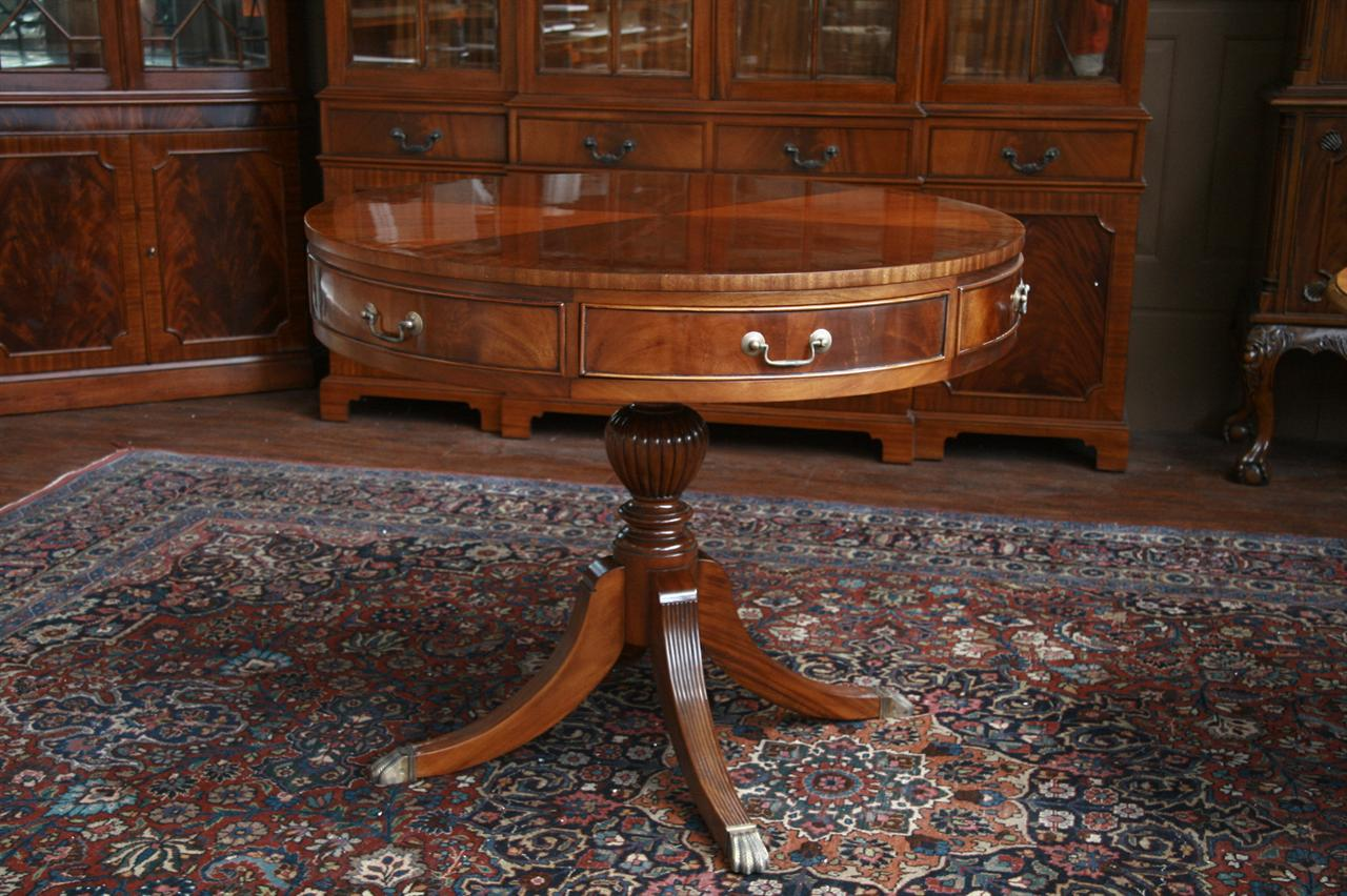 Duncan Phyfe Round Table With Drawer.Mahogany Drum Table Duncan Phyfe Drum Table With Drawers