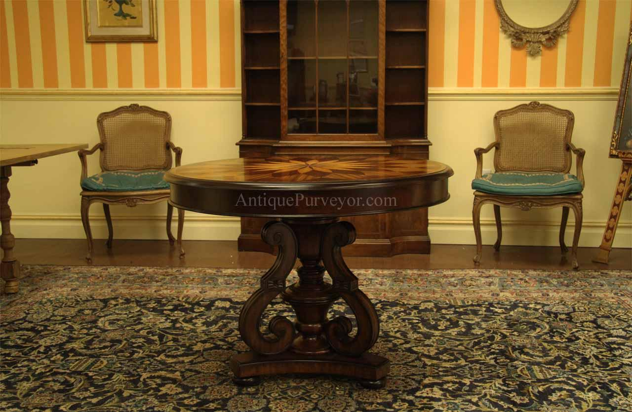Traditional Inlaid Mahogany Center Table-Round Pedestal Table