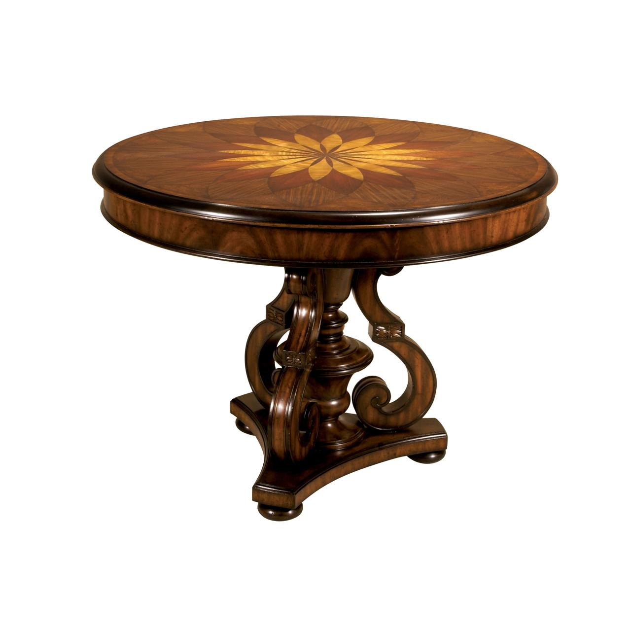 Handmade Marquetry, Round Inlaid Pedestal Table For A Foyer