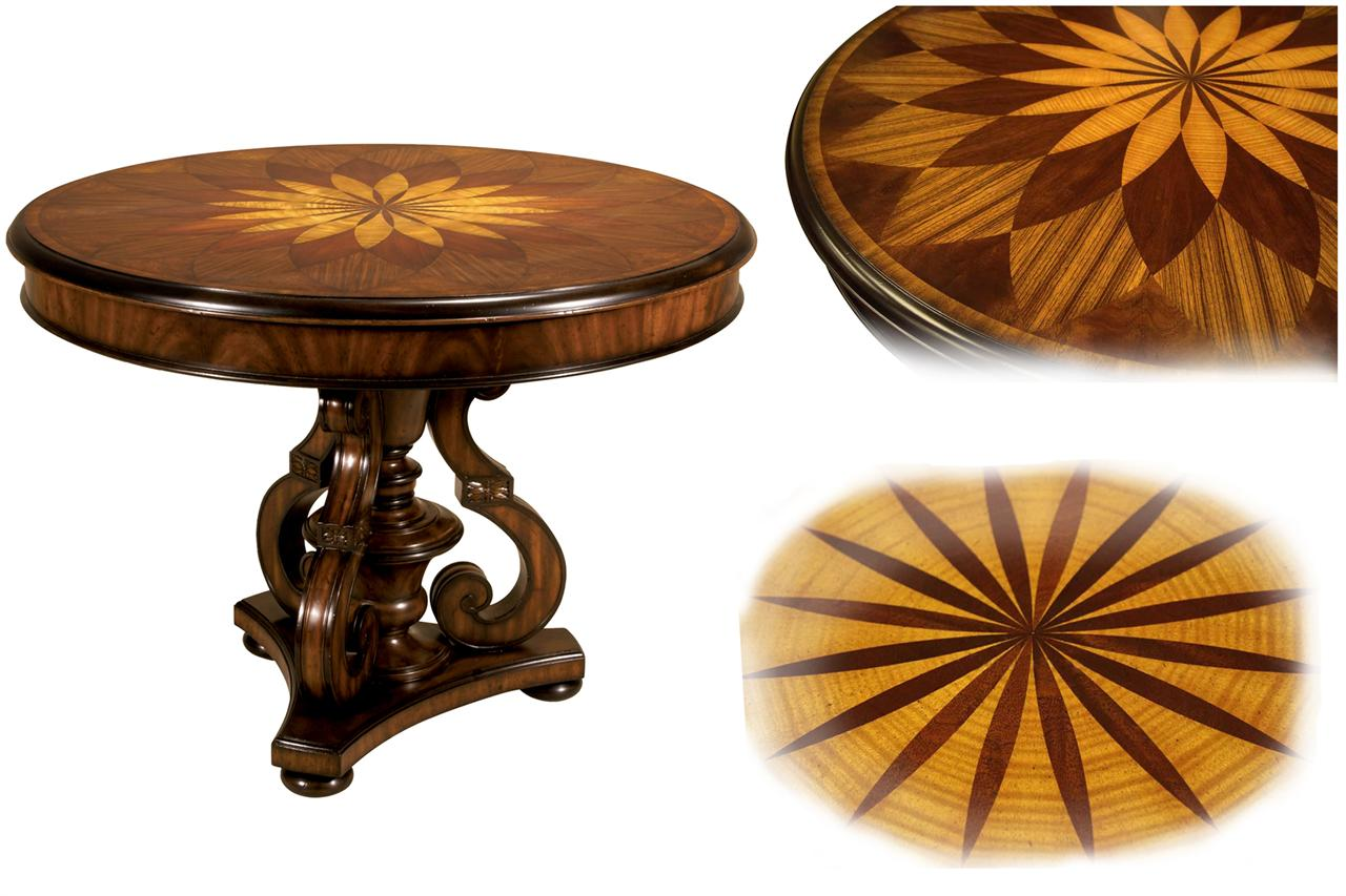 High-end Traditional satinwood inlaid mahogany center table