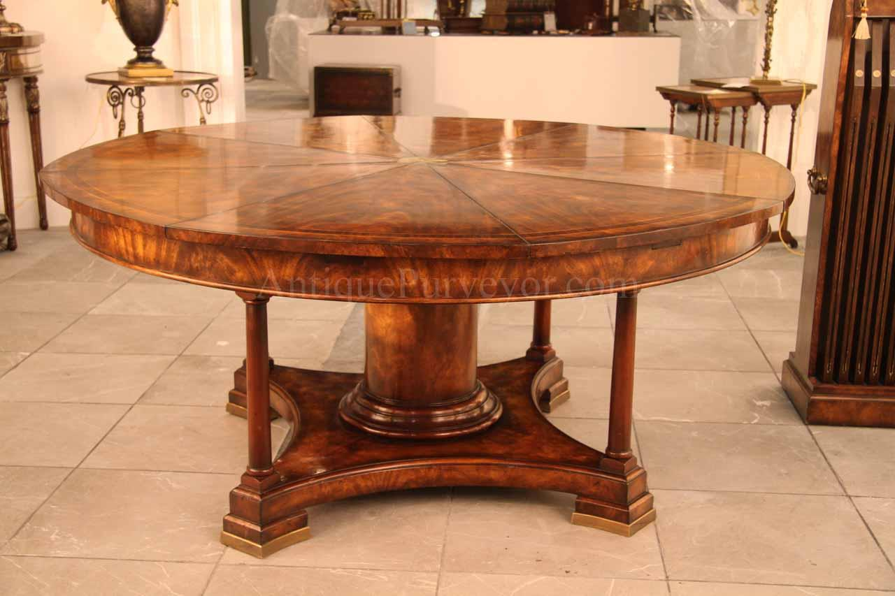 Extra Large Round To Expandable Mahogany Dining Table