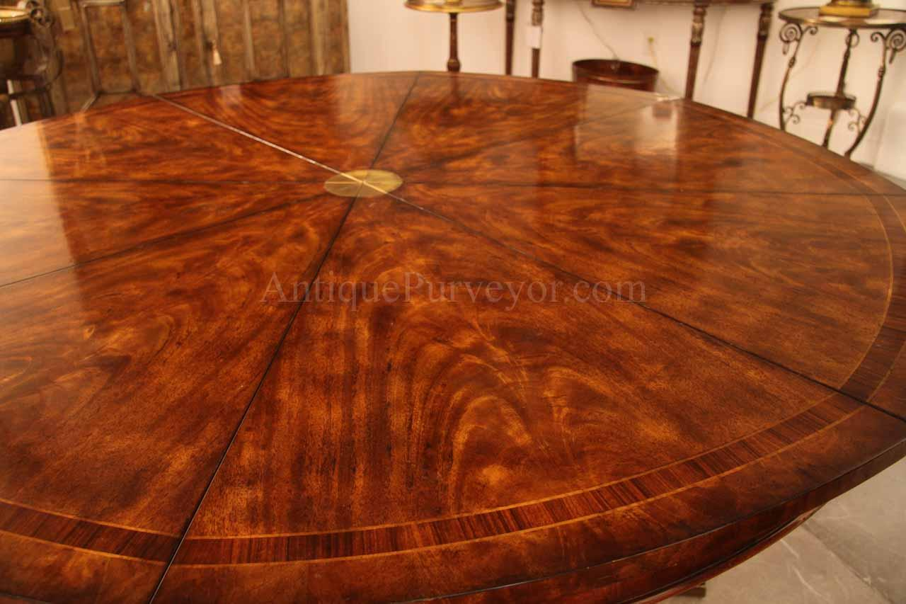 68 90 Round Mahogany Dining Table With Leaves Seats 8 10 People