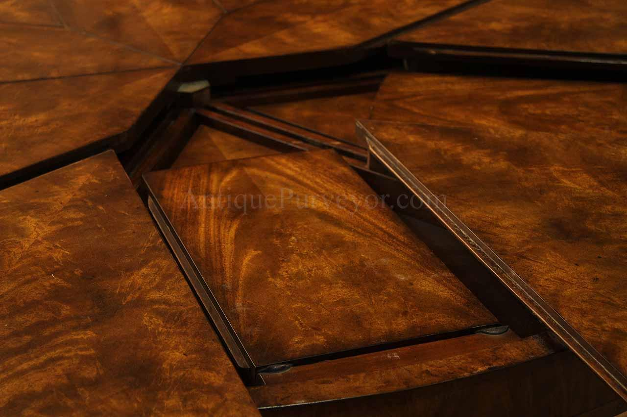 Round mahogany jupe table for sale large round expanding for Jupe mechanism