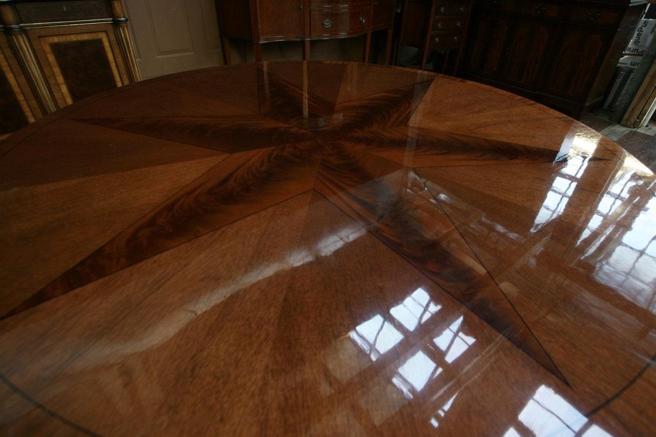 Wood Dining Tables With Leaves round mahogany dining table with leaves. antique reproduction