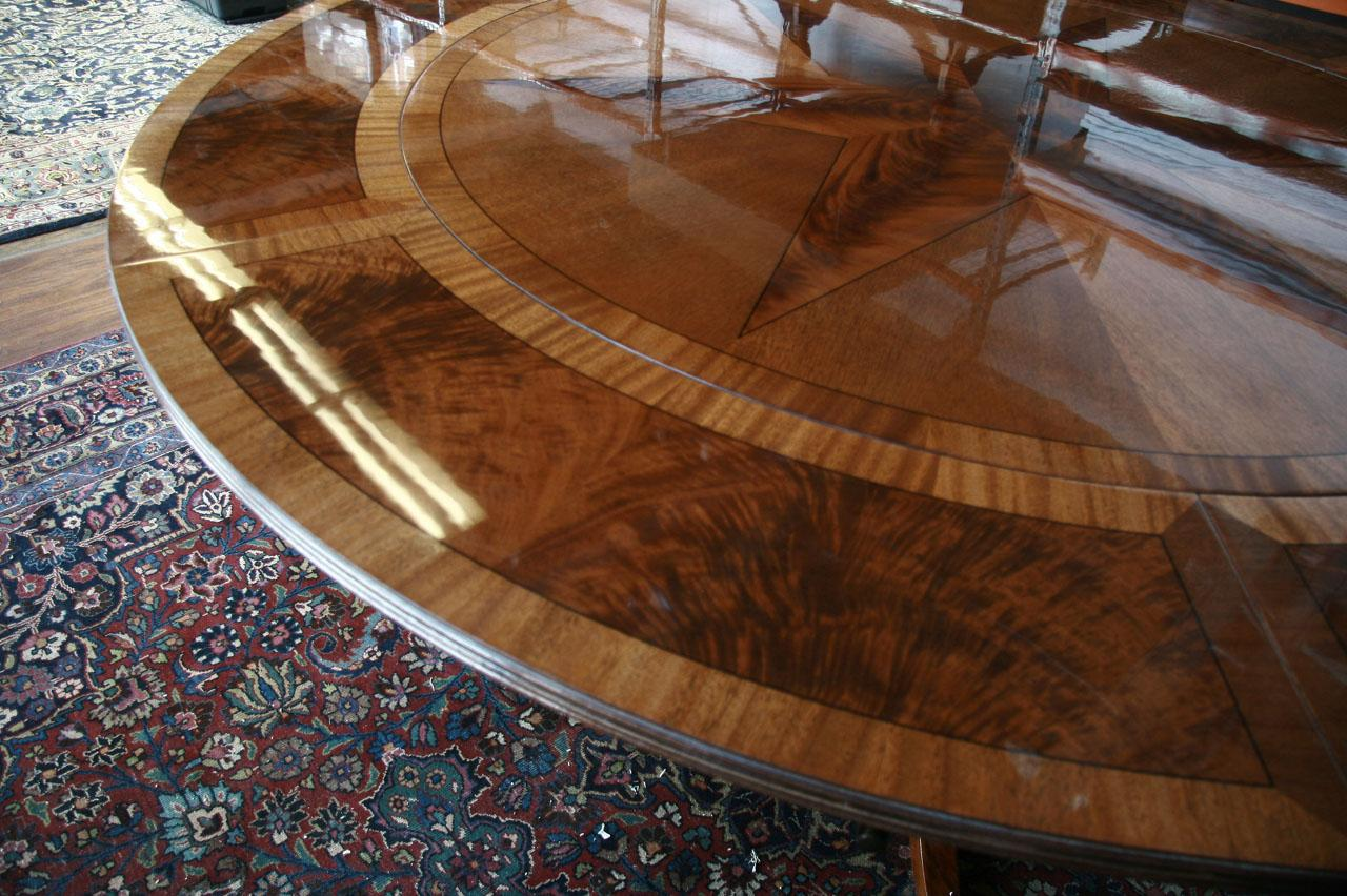 round dining room table with leaves | Large Round Mahogany Dining Table W Leaves Perimeter | eBay