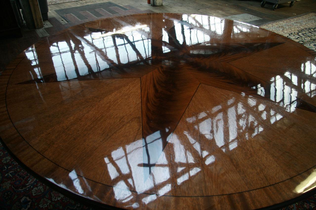 Large Round Mahogany Dining Table W Leaves Perimeter EBay