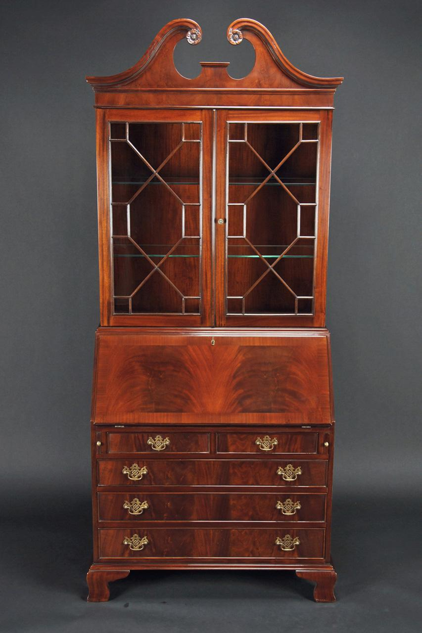 Mahogany Secretary Desk with Flame Mahogany Slant Lid