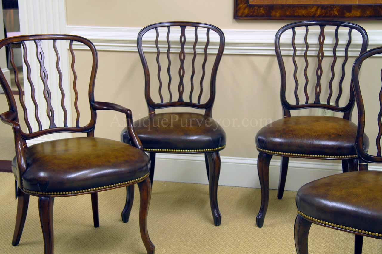 Mahogany squiggly back chairs handmade from solid mahogany - Antique Mahogany Shield Back Dining Room Chairs With Leather