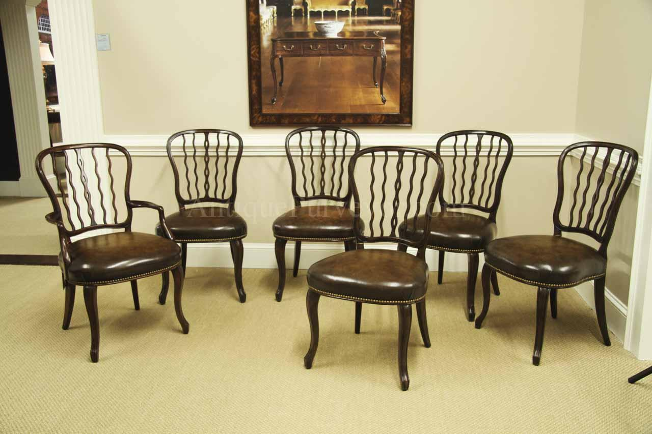 Antique reproduction dining chairs. Original chair Circa 1800 - Antique Mahogany Shield Back Dining Room Chairs With Leather