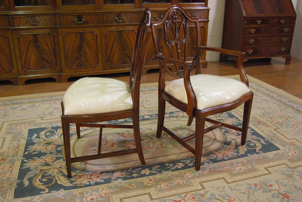 Beautiful Mahogany Shield Back Dining Chairs | Fleur De Lis Shield Back
