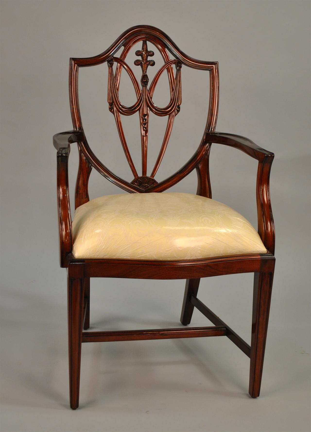 mahogany shield back dining chairs fleur de lis shield back ebay. Black Bedroom Furniture Sets. Home Design Ideas
