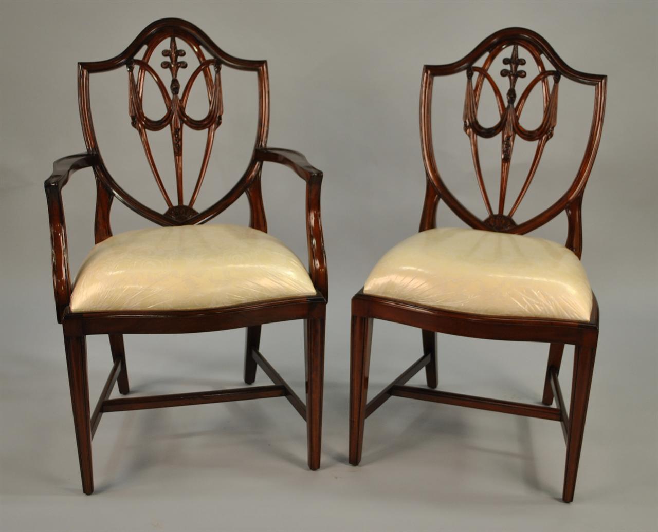 Mahogany shield back dining chairs fleur de lis shield for Mahogany dining room chairs
