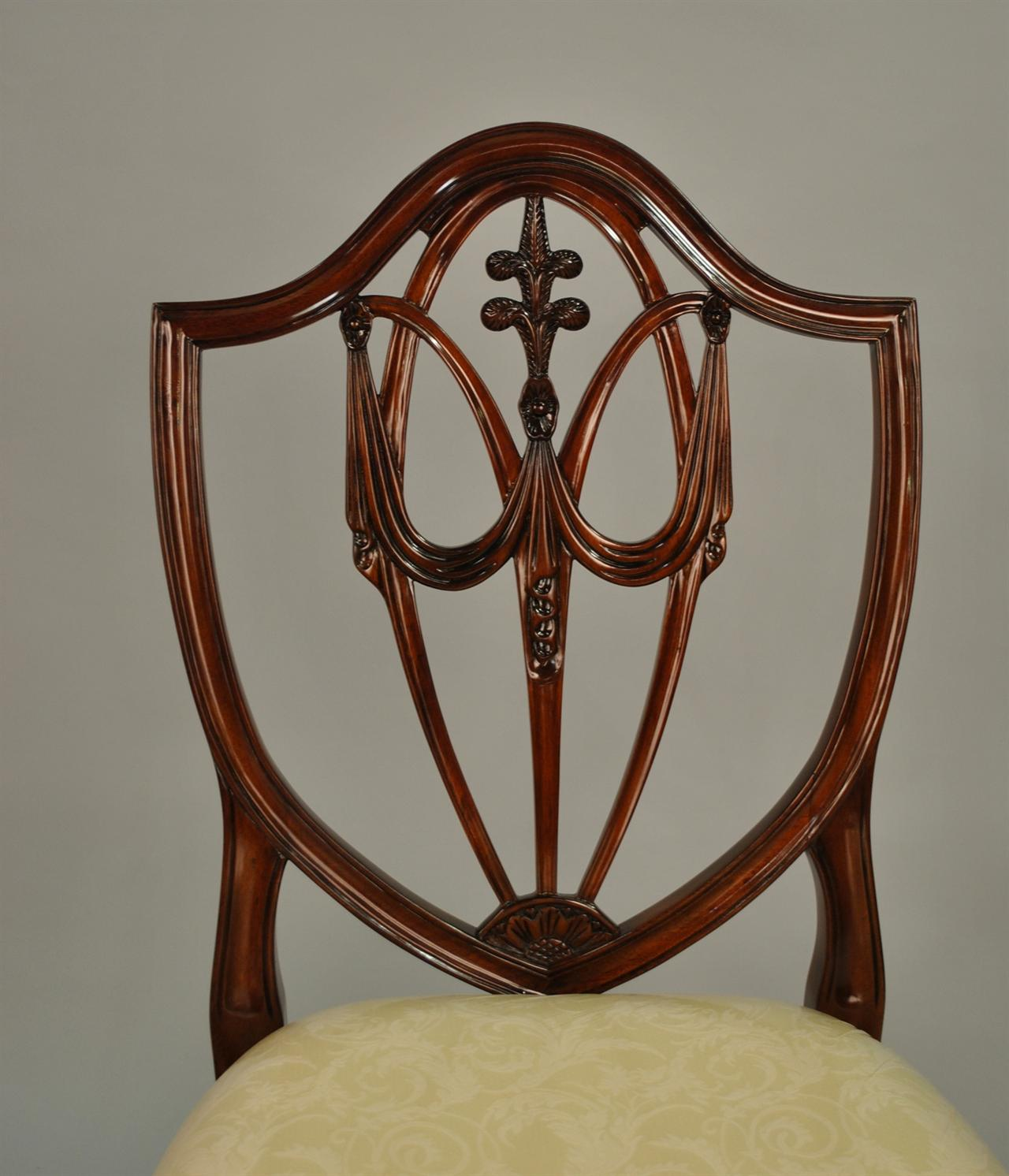 Shield Back Dining Room Chairs: Mahogany Shield Back Dining Chairs, Fleur De Lis Shield