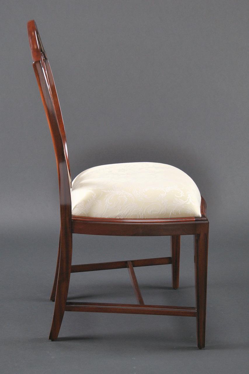 Mahogany Shield Back Dining Chairs | Fleur De Lis Shield Back