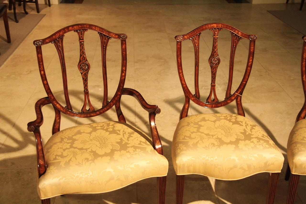 Mahogany Shield Back Dining Chairs With Veneered Frames And Rosettes