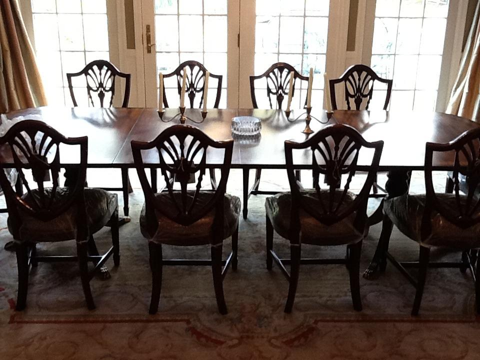 shield back dining room chairs in solid mahogany. swag splats.