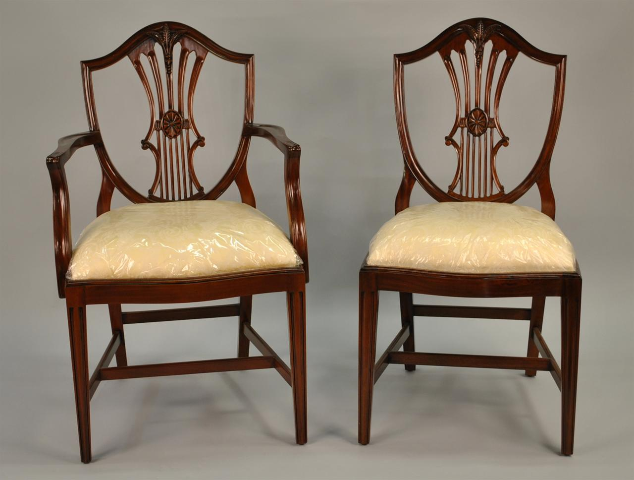 Small vintage size shield back dining room chairs solid for Antique dining room furniture