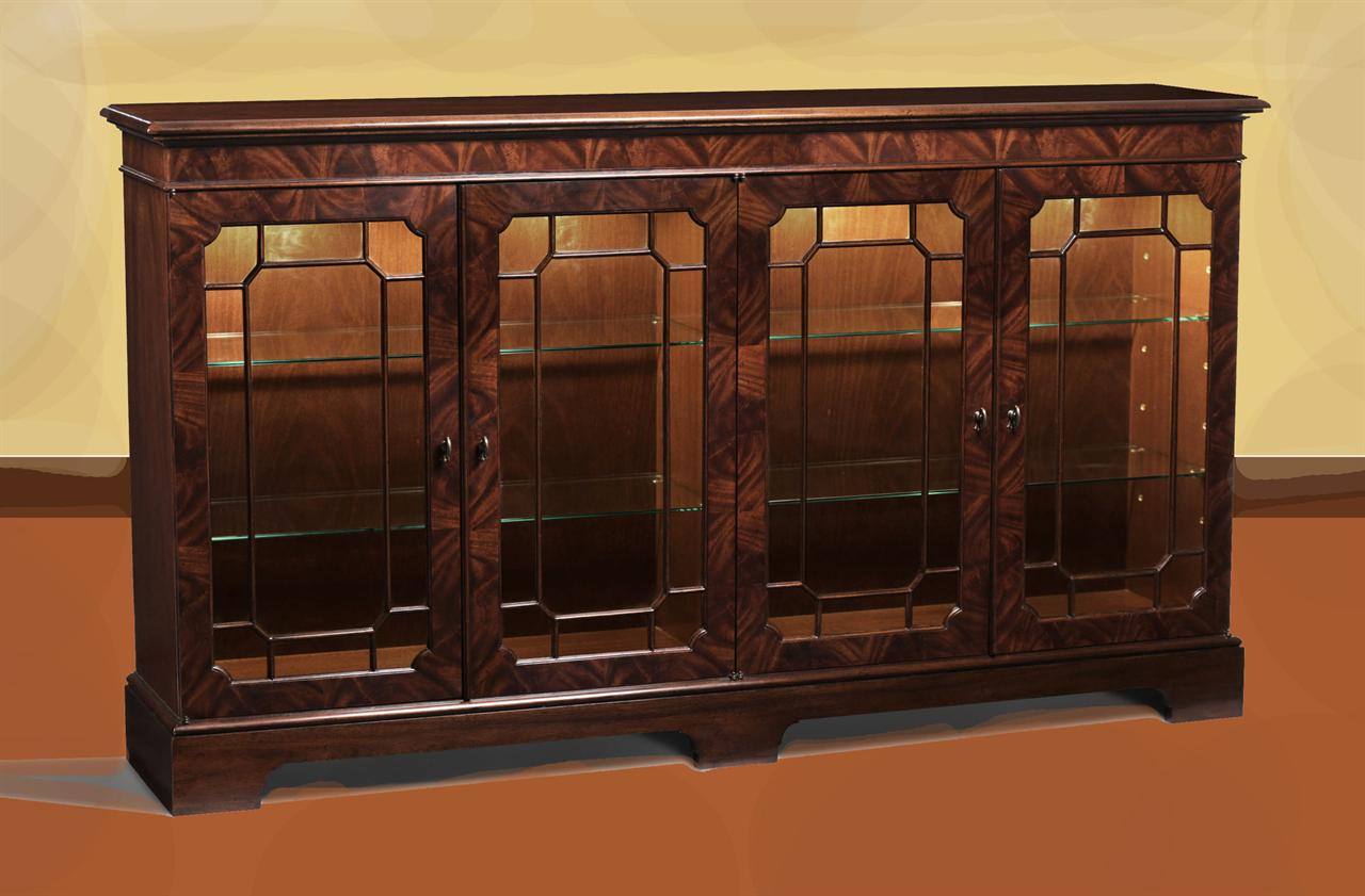 Mahogany Sideboard Display Cabinet Paned Glass Doors