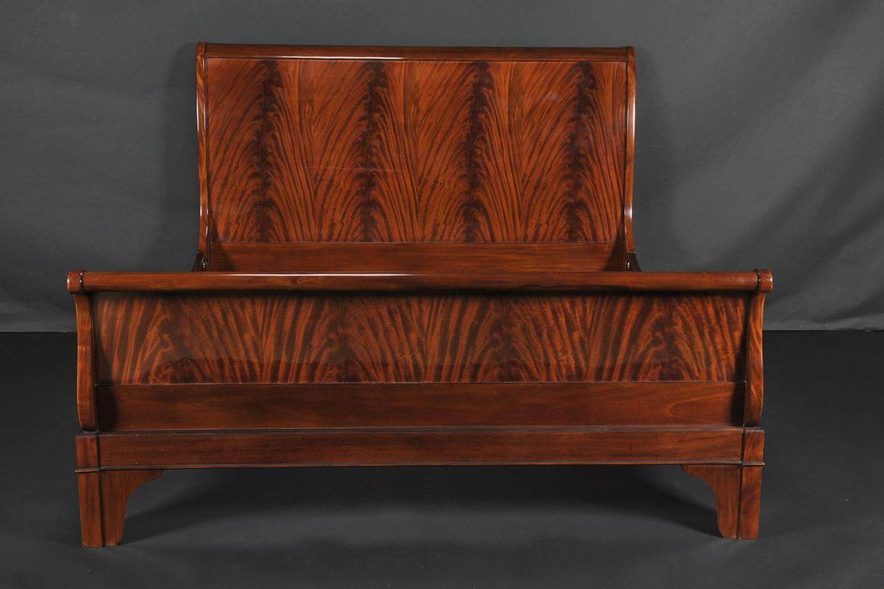 Mahogany Sleigh Bed King Size Easy Fasten Rails