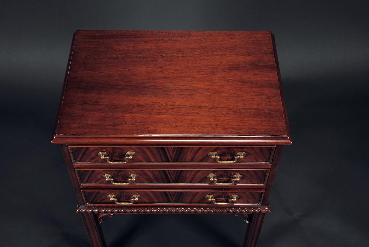 Mahogany Three Drawer Nightstand