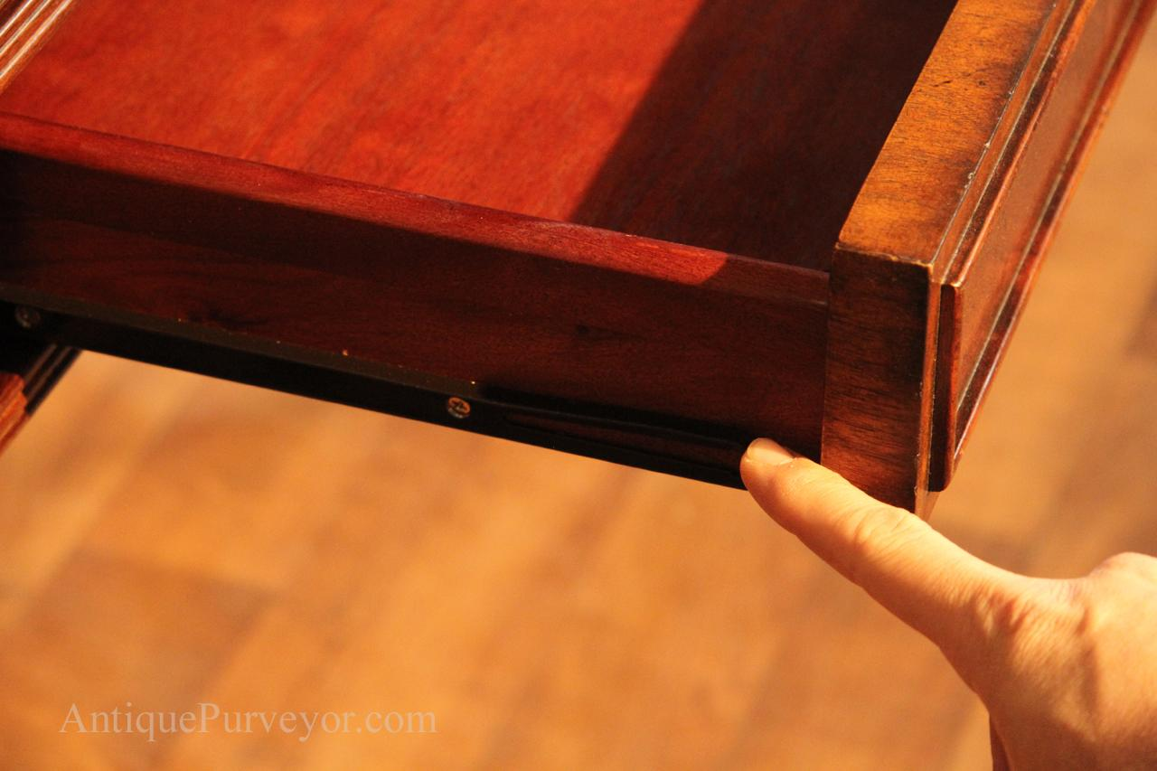 High end home office inlaid mahogany writing desk main center drawer has self closing track let the drawer go near end of movement and it closes gumiabroncs Gallery