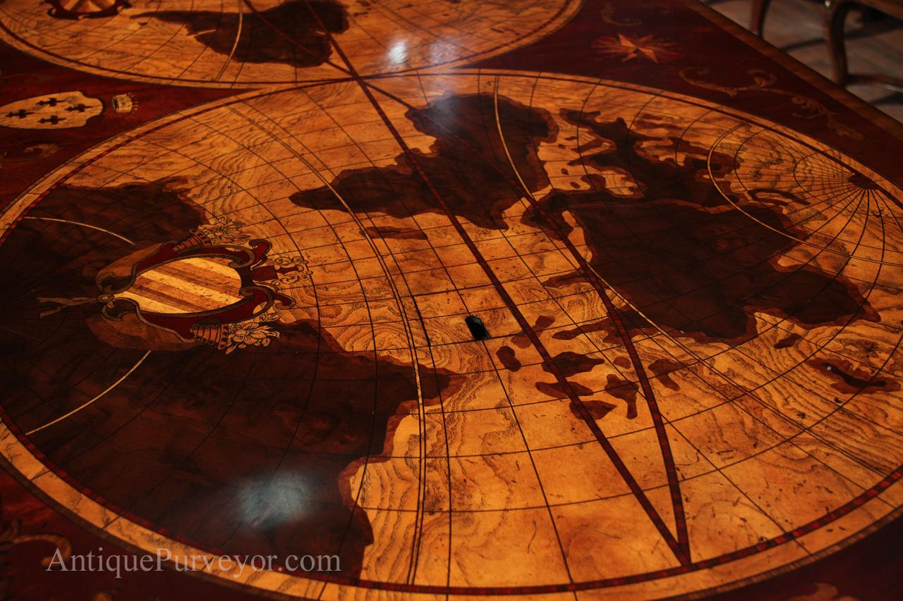 Nautical Inlaid With Windrose Globe World Maps Pre Wired Ethernet Ac