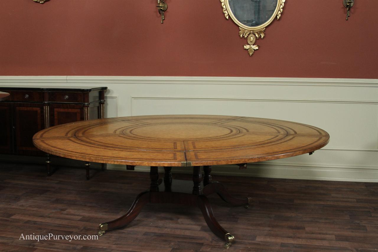 Maitland Smith Leather Top Large Round Dining Table With Leaves