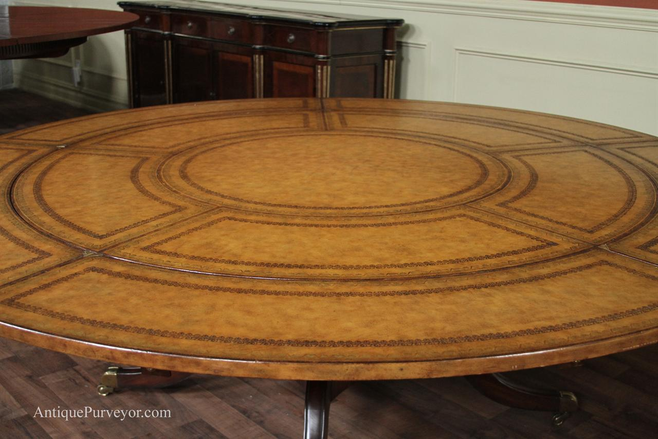 Maitland Smith Leather Top Large Round Dining Table With