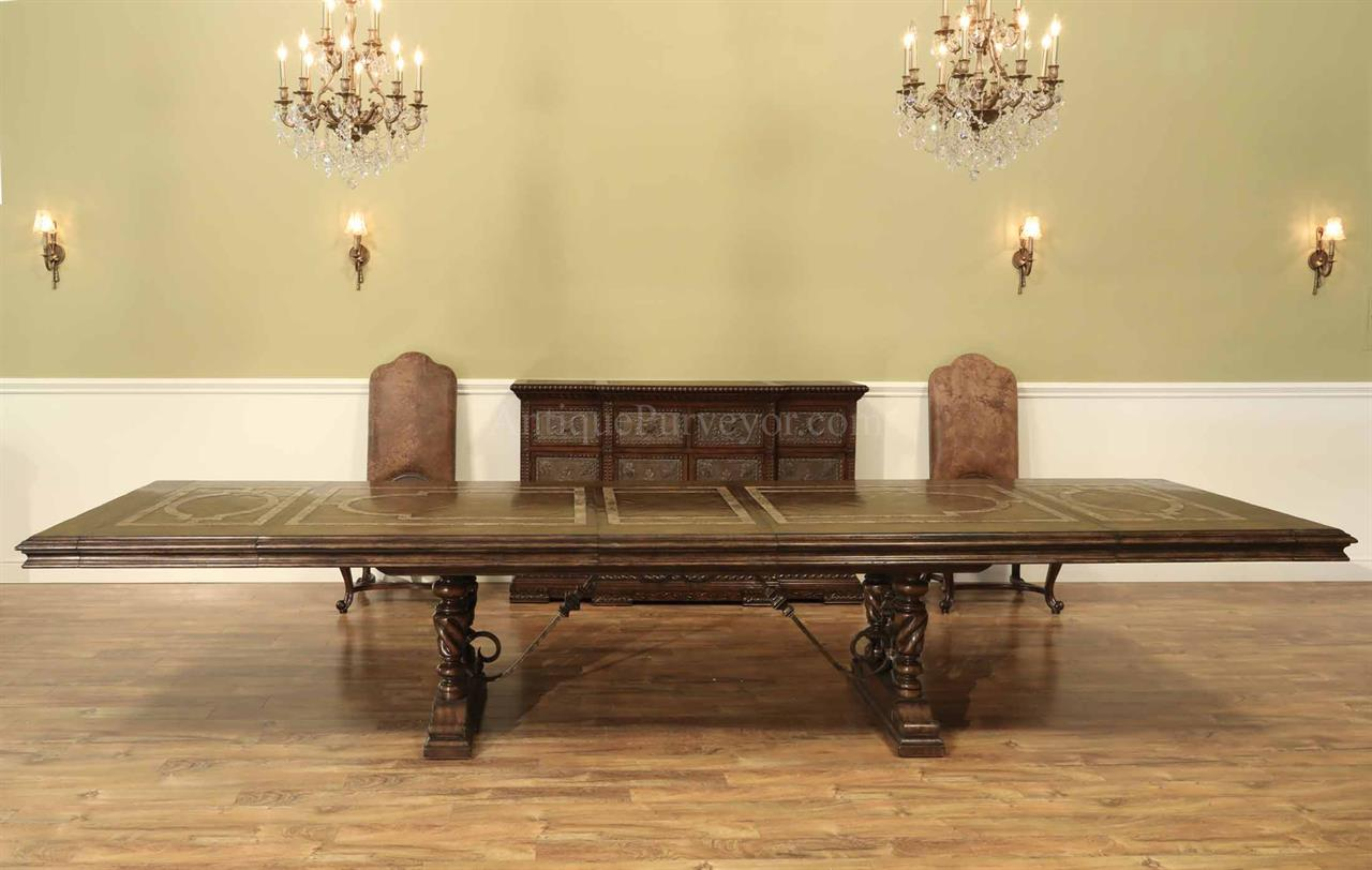 Extending Dining Table Shown Here With Three Leaves Seats 16 People