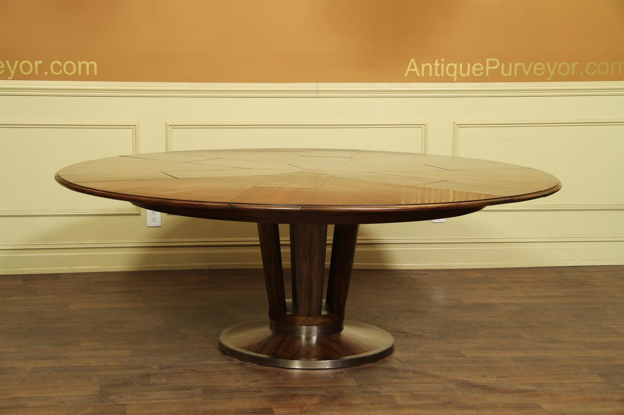 Contemporary Jupe Table, Large Modern Round Dining Table Opens to 84