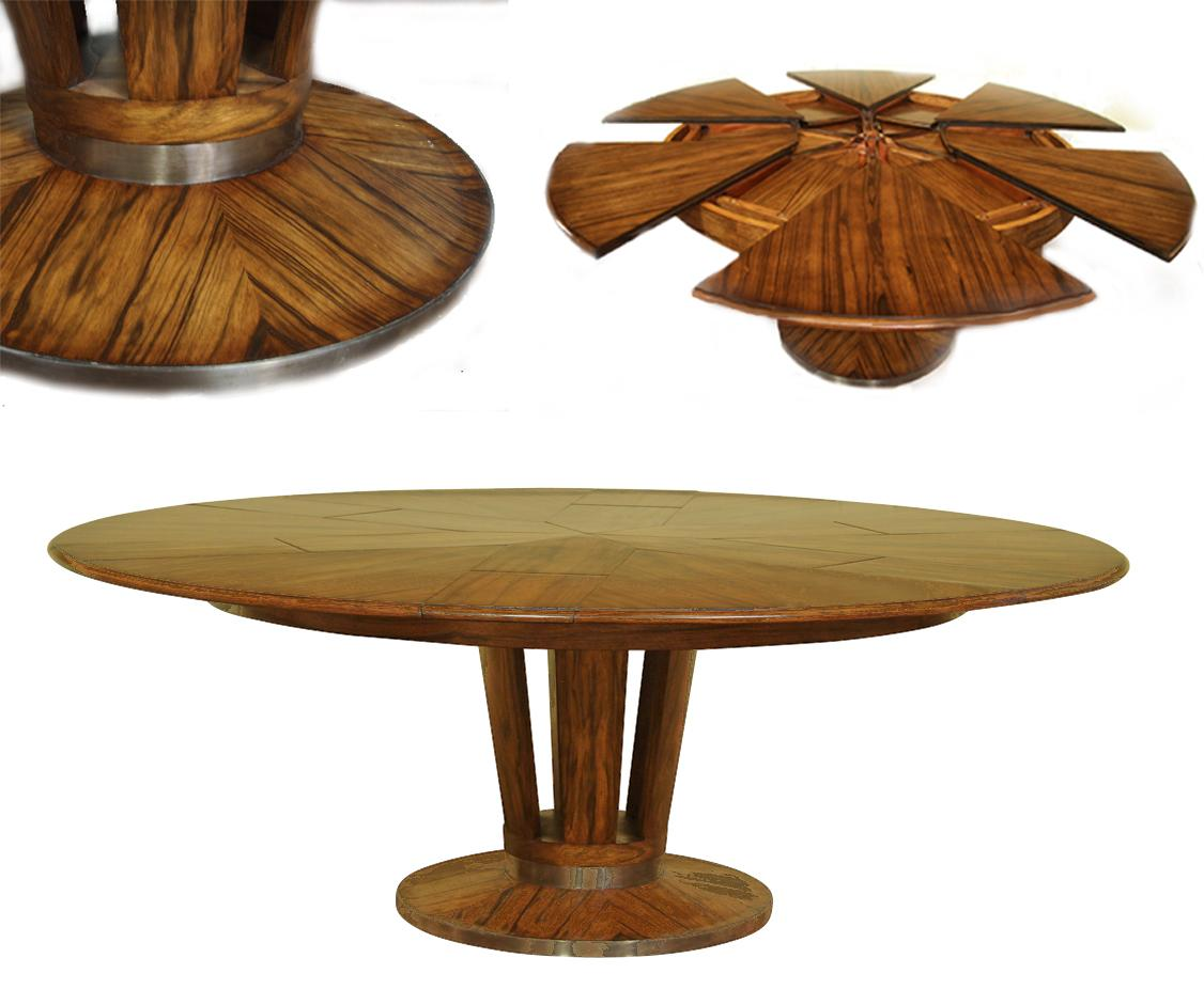 Modern round pedestal dining table - Contemporary Expandable Round Dining Table With Self Storing Leaves