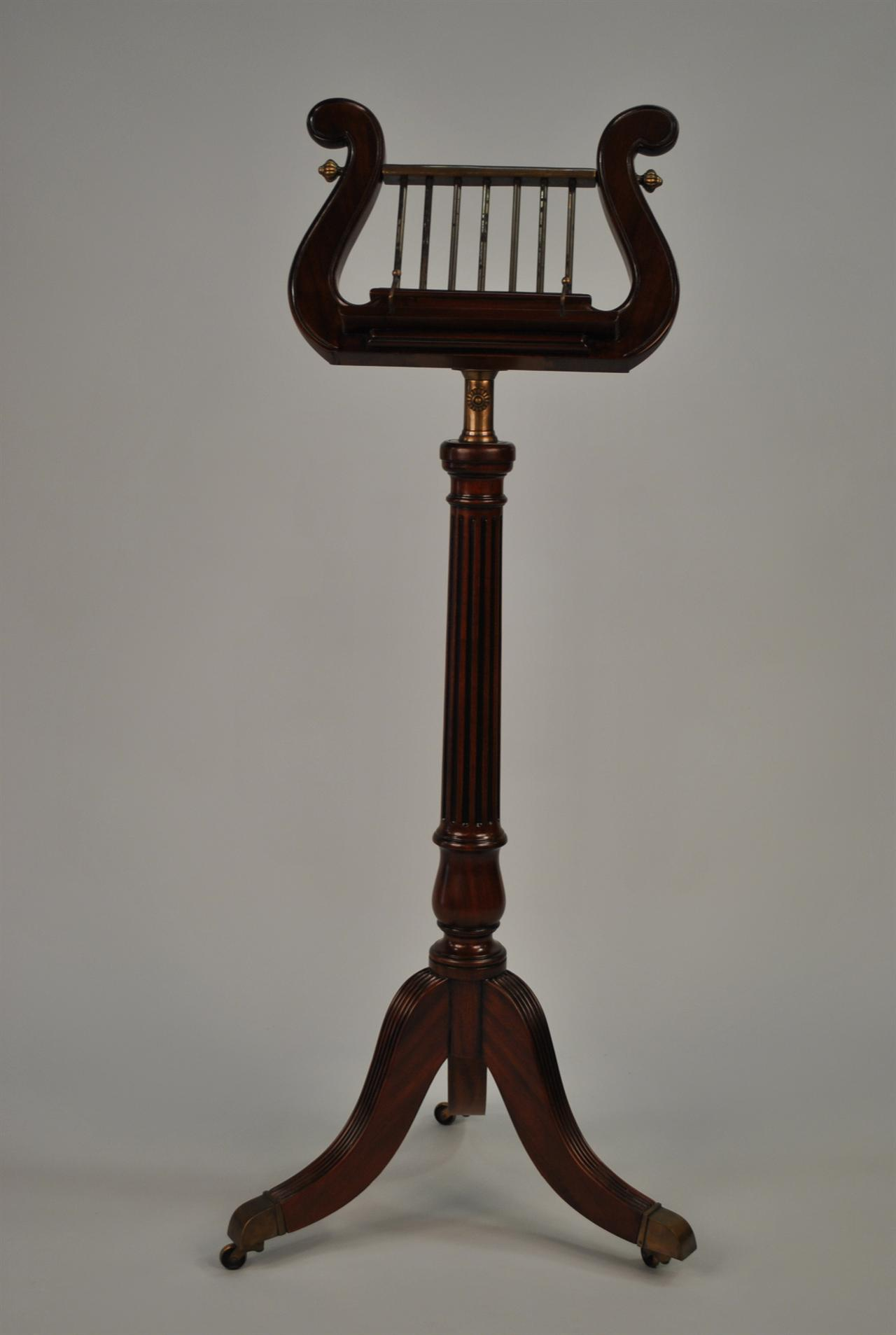 Solid Mahogany Lyre Music Stand With Duncan Phyfe Legs. Full resolution‎  snapshot, nominally Width 1280 Height 1907 pixels, snapshot with #241611.
