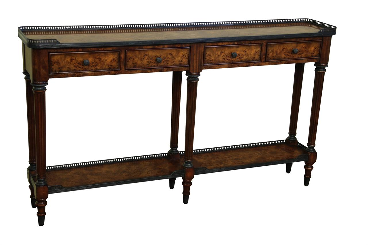 Antique burl walnut narrow console table luois xv reproduction for 24 wide console table