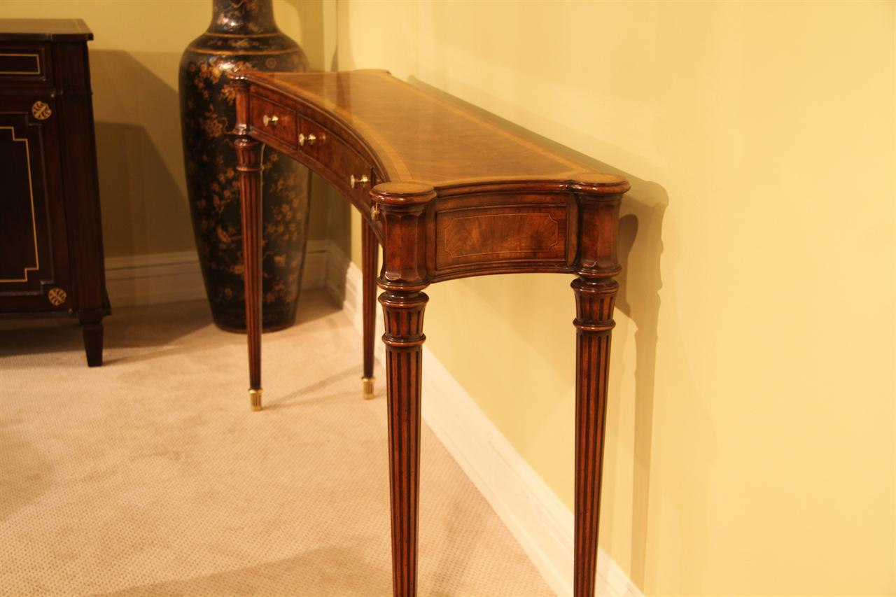 Narrow Walnut Console Table For Dining Room Or Foyer